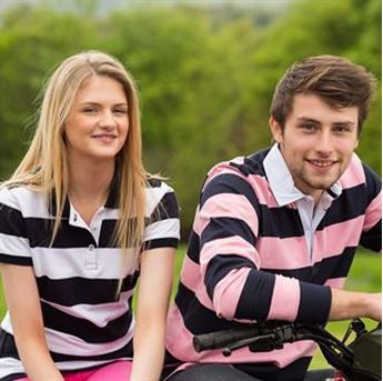 Picture of Women's striped pique polo